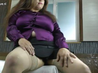 Latin mamma with massive rack enjoys a hard ramrod