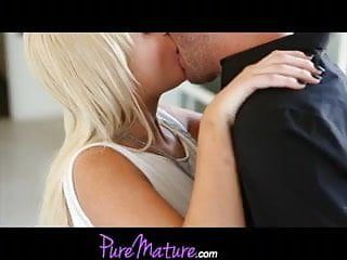 Puremature luscious golden-haired wife has flawless hairless snatch for