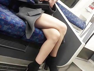 Candid milfs hot crossed legs on the tube