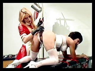 Nurse sticking tubes up beauties butt