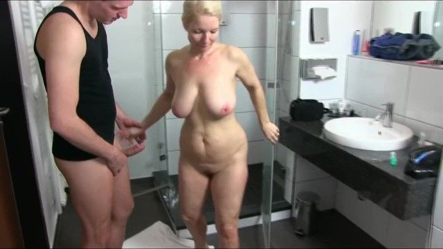 Breasty german milf drilled in the shower
