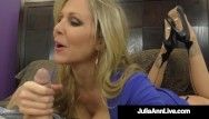 Gorgeous breasty wife julia ann gives superb tugjob but wont let hubby cum