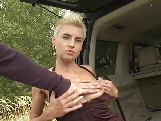 Wild dilettante milf acquires large pecker in the car