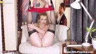 English milf lucy gresty disrobes off to heels and stockings to frig herself off
