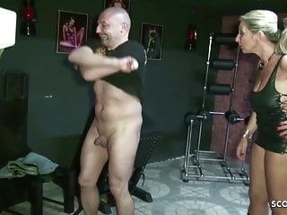 2 german milf femdom villein and blackmail to eat own ball batter