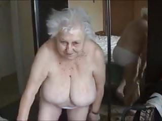 Old naked grandma with large mambos